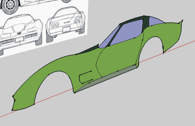 Drawing a car in sketchup with the pushpull tool extrude all of the surfaces of the cars profile one half the width of the car malvernweather Image collections